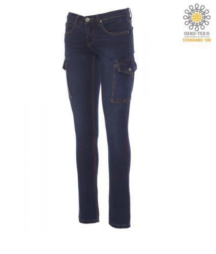 Pantaloni donna da lavoro jeans multitasche blu scuro, abbigliamento industriale