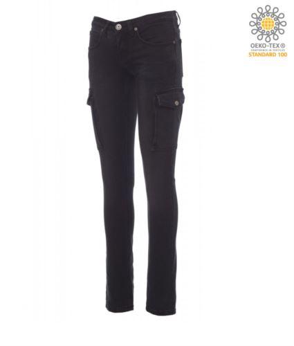 Pantaloni da lavoro donna jeans multitasche nero, abbigliamento per vigilanza privata