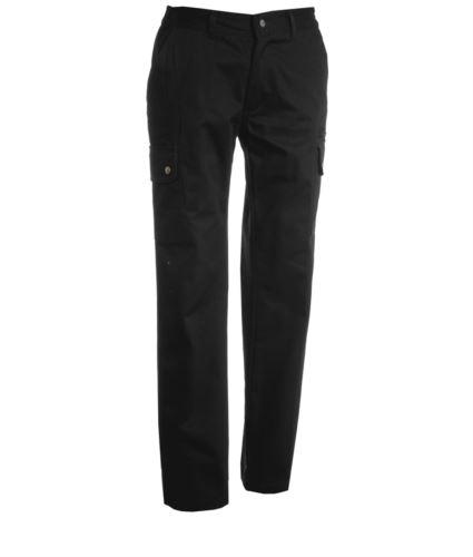 Pantalone da lavoro multitasche donna nero, pantalone multitasche sorvegliante