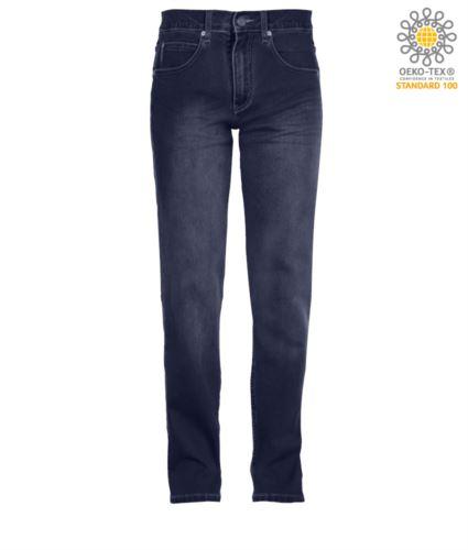 Pantaloni elastico da lavoro in jeans, multitasche, colore deep blu