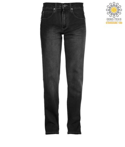 Pantaloni elastico da lavoro in jeans, multitasche, colore nero