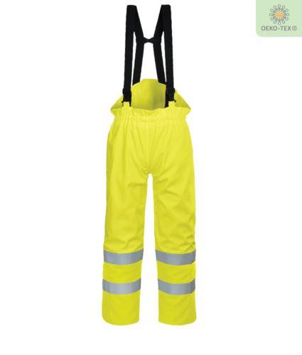 Pantalone foderato antistatico, ignifugo alta visibilità, zip alle caviglie, retro vita elasticizzato, fodera in cotone, colore giallo. Certificato CE, EN 343:2008, EN 1149-5, UNI EN 20471:2013, EN 13034, UNI EN ISO 14116:2008