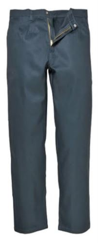 Pantalone ignifugo, chiusura con zip, due tasche anteriori, tasca porta metro, colore verde. Certificato CE, NFPA 2112, EN 11611, EN 11612:2009, ASTM F1959-F1959M-12
