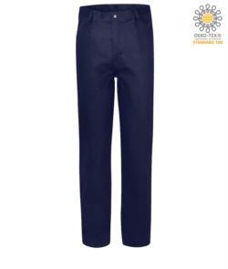 Pantalone ignifugo, chiusura con zip, due tasche anteriori, tasca porta metro, colore blu navy. Certificato CE, NFPA 2112, EN 11611, EN 11612:2009, ASTM F1959-F1959M-12