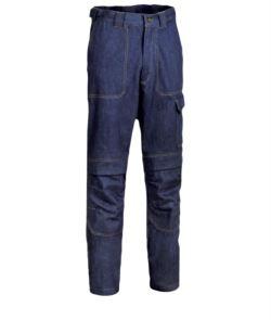 Pantalone ignifugo, due tasche anteriori e posteriori, tasca portametro, colore blu denim. Certificato UNI EN ISO 340:2004, EN 11611, EN 11612:2009