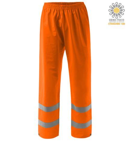 Pantaloni ignifugo ad alta visibilità, fondo regolabile con bottone, doppia banda su fondo gamba, elastico in vita, certificato EN 343:2008, UNI EN 20471:2013, EN 1149-5, EN 13034, UNI EN ISO 14116:2008, colore arancione