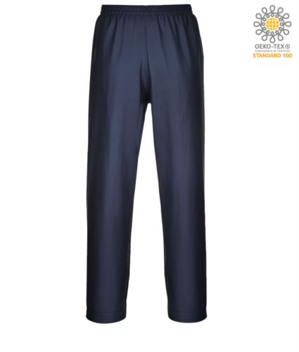 Pantalone ignifugo antiacido e antistatico, orli regolabili con bottoni, colore blu navy. Certificato CE, EN 343:2008, EN 1149-5, EN 13034, UNI EN ISO 14116:2008