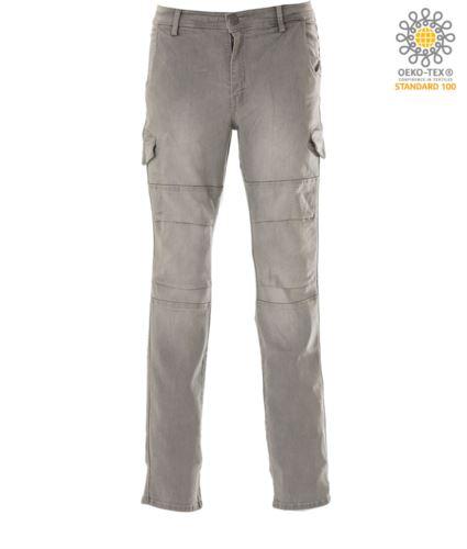 Pantalone da lavoro in jeans elasticizzato multitasche, colore grigio