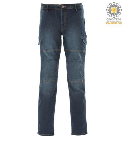Pantalone da lavoro in jeans elasticizzato multitasche, colore blu
