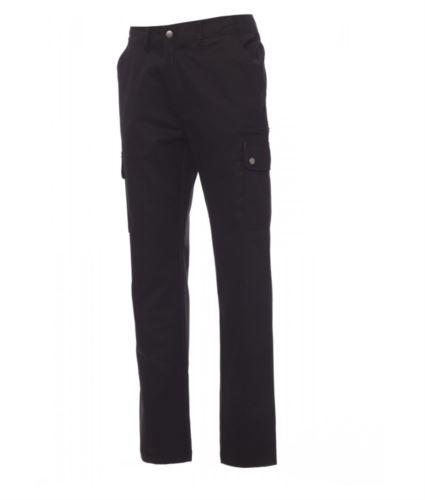 Pantaloni da lavoro multitasche e multistagione 100% Cotone. Colore nero