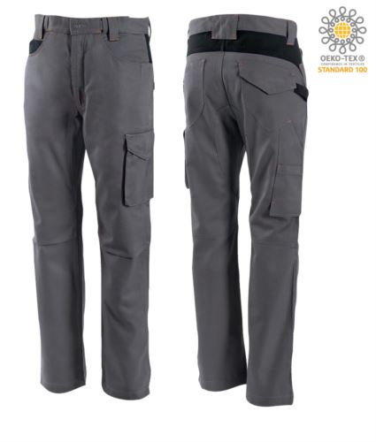 Pantaloni bicolore, mulitasche, in cotone, colore grigio/nero
