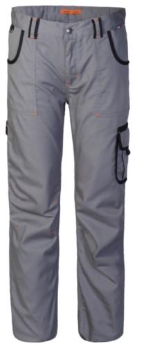 Pantalone multitasche da lavoro con dettagli colorati in contrasto, colore grigio