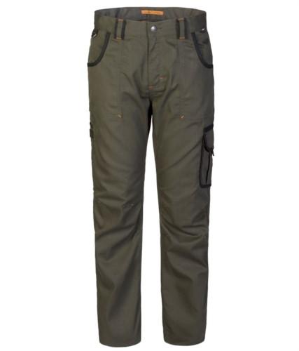 Pantalone multitasche da lavoro con dettagli colorati in contrasto, colore verde/nero