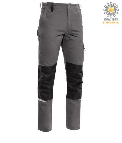 Pantalone multitasche bicolore, piping rifrangente sotto il ginocchio. Colore Grigio scuro/Nero