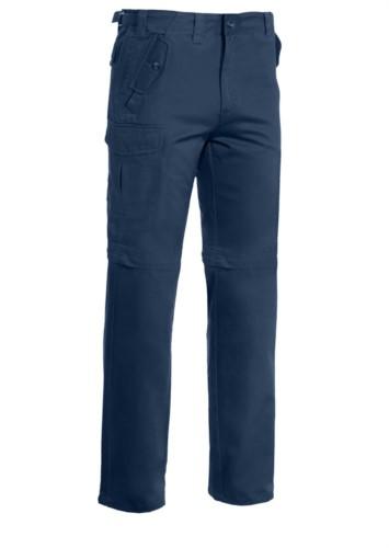 Pantalone multitasche da lavoro, accorciabile a bermuda. Colore Blu