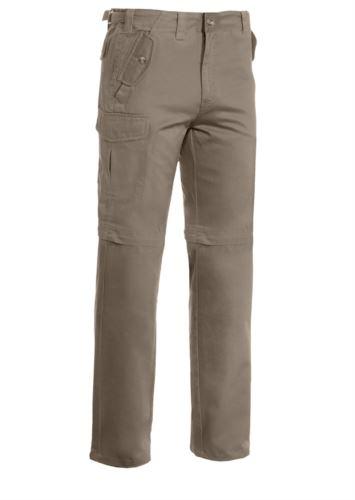 Pantalone multitasche da lavoro, accorciabile a bermuda. Colore Dark Beige
