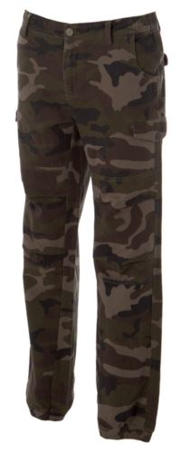 Pantaloni multitasche da lavoro, con tessuto elasticizzato, colore verde mimetico