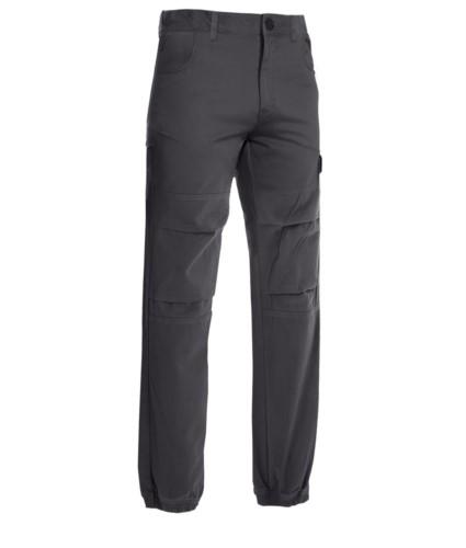 Pantaloni multitasche da lavoro, con tessuto elasticizzato, colore grigio