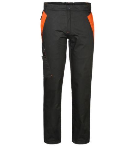 Pantaloni multitasche da lavoro bicolore con doppia tasca sulla gamba destra, colore nero/arancio