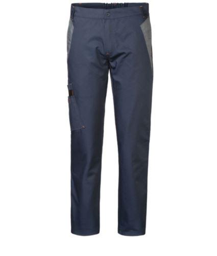 Pantaloni multitasche da lavoro bicolore con doppia tasca sulla gamba destra, colore blu/grigio