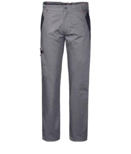 Pantaloni multitasche da lavoro bicolore con doppia tasca sulla gamba destra, colore grigio/nero