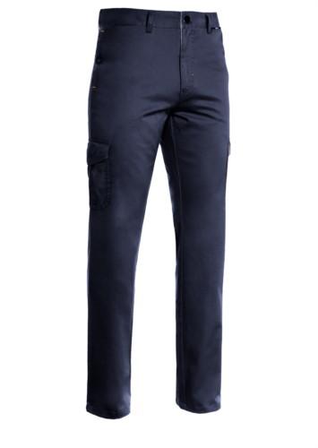Pantalone multiasche leggero, fodera con tessuto rigato. Colore blu