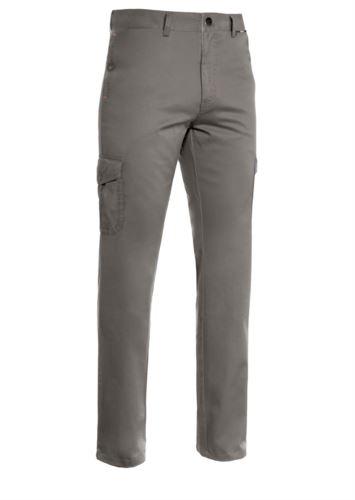 Pantalone multiasche leggero, fodera con tessuto rigato. Colore grigio