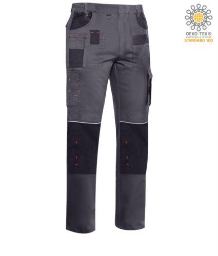 Pantaloni multitasche professionale con dettagli e cuciture in contrasto, elasticizzato, colore grigio scuro