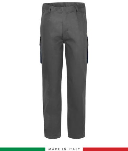 Pantalone pentavalente bicolore, multitasche, profilo colorato sulle tasche, Made in Italy, certificata EN 11611, EN 1149-5, EN 13034, CEI EN 61482-1-2:2008, EN 11612:2009, colore grigio e blu navy,  pantalone ignifugo, pantalone antistatico, pantalone antiacido, pantalone saldatura, pantalone arco elettrico