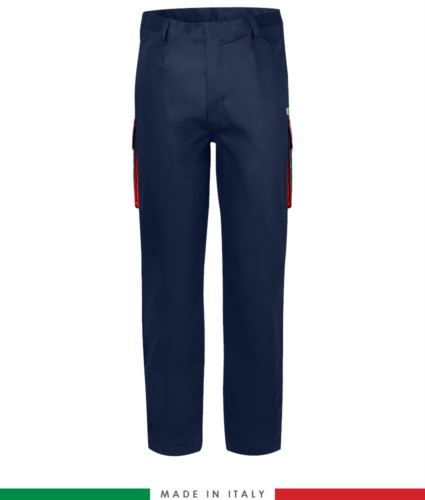 Pantalone pentavalente bicolore, multitasche, profilo colorato sulle tasche, Made in Italy, certificata EN 11611, EN 1149-5, EN 13034, CEI EN 61482-1-2: 2008, EN 11612: 2009, colore blu navy e rosso, pantalone ignifugo, pantalone antistatico, pantalone antiacido, pantalone saldatura, pantalone arco elettrico
