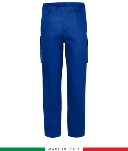 Pantalone pentavalente bicolore, multitasche, profilo colorato sulle tasche, Made in Italy, certificata EN 11611, EN 1149-5, EN 13034, CEI EN 61482-1-2: 2008, EN 11612: 2009, colore azzurro royal e verde, pantalone ignifugo, pantalone antistatico, pantalone antiacido, pantalone saldatura, pantalone arco elettrico