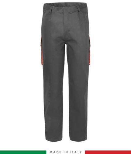 Pantalone pentavalente bicolore, multitasche, profilo colorato sulle tasche, Made in Italy, certificata EN 11611, EN 1149-5, EN 13034, CEI EN 61482-1-2:2008, EN 11612:2009, colore grigio e arancione,  pantalone ignifugo, pantalone antistatico, pantalone antiacido, pantalone saldatura, pantalone arco elettrico