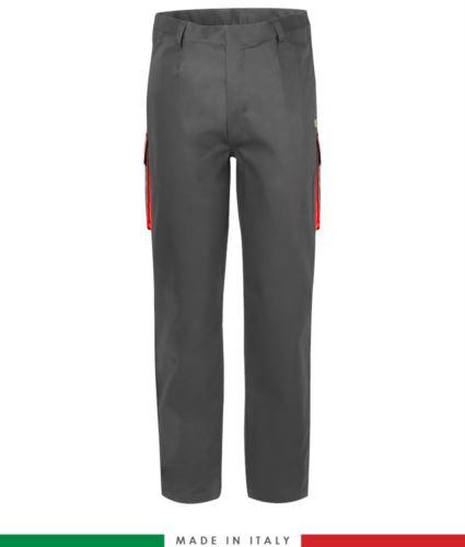 Pantalone pentavalente bicolore, multitasche, profilo colorato sulle tasche, Made in Italy, certificata EN 11611, EN 1149-5, EN 13034, CEI EN 61482-1-2:2008, EN 11612:2009, colore grigio e rosso, pantalone ignifugo, pantalone antistatico, pantalone antiacido, pantalone saldatura, pantalone arco elettrico