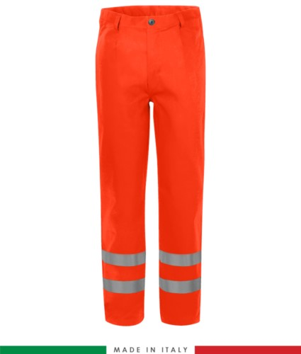 Pantalone trivalente, tasche a filetto e due tasche posteriori, doppia banda su fondo gamba, Made in Italy, certificato EN 20471, EN 11611, EN 1149-5, EN 13034, CEI EN 61482-1-2:2008, EN 11612:2009, colore arancione