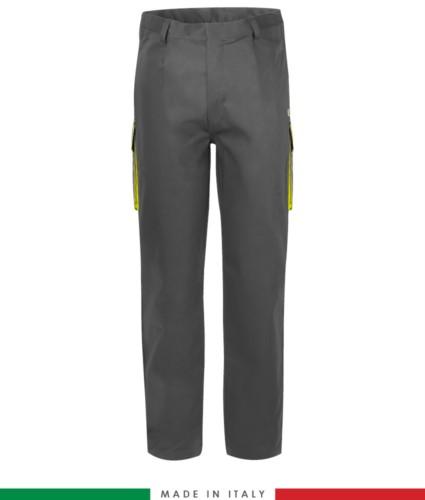 Pantalone trivalente bicolore, multitasche, profilo colorato sulle tasche, Made in Italy, certificata EN 11611, EN 1149-5, EN 13034, CEI EN 61482-1-2:2008, EN 11612:2009, colore grigio e giallo