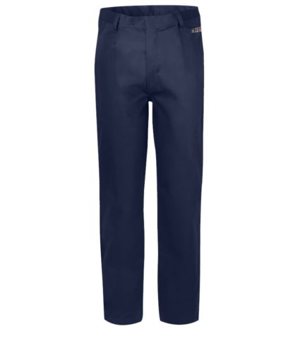 Pantalone trivalente multi pro, modello classico, multitasche EN 11611, EN 1149-5, EN 13034, CEI EN 61482-1-2: 2008, EN 11612: 2009, colore blu