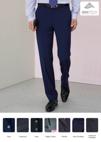 Pantalone elegante uomo modello dal taglio sartoriale, due tasche a filetto, tessuto in lana, poliestere e lycra con trattamento antimacchia. Contattaci per un preventivo gratuito.