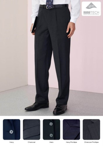 Pantalone elegante uomo modello dal taglio classico, due tasche a filetto, in tessuto poliestere lana e lycra, trattamento antimacchia. Ottieni un preventivo gratuito.