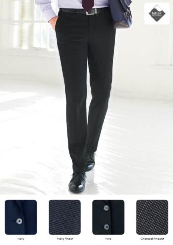 Pantalone elegante uomo modello dal taglio sartoriale, due tasche a filetto, tessuto in poliestere viscosa ed elastane, con trattamento antimacchia. Contattaci per un preventivo gratuito.
