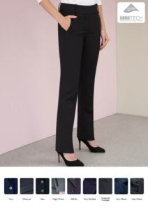 Pantaloni da donna eleganti con trattamento antimacchia. Tessuto in poliestere, lana e lycra.  Ideale per  receptionist, hostess, hotellerie. Vendita all'ingrosso.