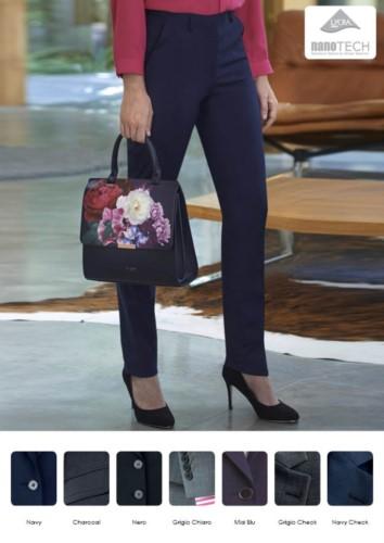 Pantaloni eleganti da donna modello slim fit, tessuto poliestere e lana, con trattamento antimacchia. Ideali per  receptionist, hostess, hotellerie.