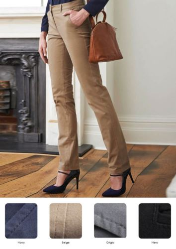 Pantaloni eleganti modello slim-fit in cotone ed elastane. Vari colori disponibili. Ideali per  receptionist, hostess, hotellerie. Vendita all'ingrosso.