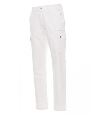 Pantaloni da lavoro multitasche e multistagione 100% Cotone. Colore bianco