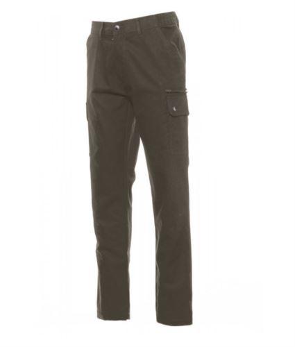 Pantaloni uomo multistagione, con elastici laterali e passanti in vita, colore verde militare