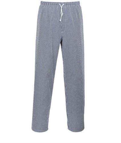 Pantaloni bromley, tessuto in cotone, tasca posteriore, chiusura con zip e vita elasticizzata, colore bianco-nero