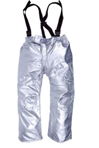 Pantaloni da avvicinamento foderati, proteggono dal calore, bretelle regolabili, certificato EN 11612:2009, colore argento