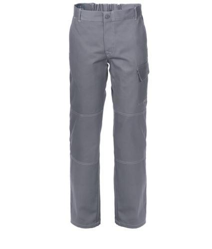 Pantaloni da lavoro multitasche 100% Cotone, cuciture a contrasto. Colore: Grigio