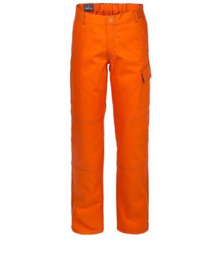 Pantaloni da lavoro multitasche 100% Cotone, cuciture a contrasto. Colore: Arancione