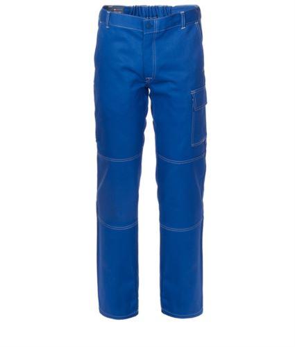 Pantaloni da lavoro multitasche 100% Cotone, cuciture a contrasto. Colore: Azzurro