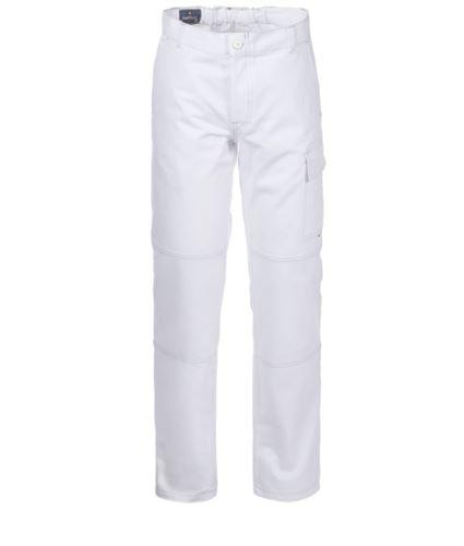 Pantaloni da lavoro multitasche 100% Cotone, cuciture a contrasto. Colore: Bianco